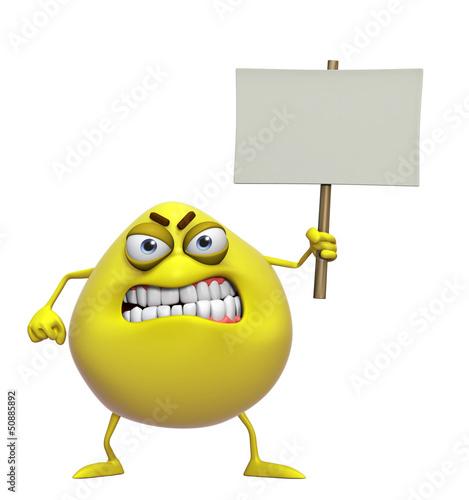 Garden Poster Sweet Monsters 3d cartoon cute yellow monster holding placard