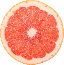 Pink Grapefruit Slice Isolated