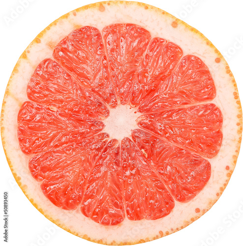 Pink Grapefruit Slice Isolated
