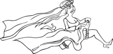 Running Bride Cartoon Illustra...