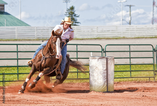 Photo Stands Horseback riding Barrel Racer