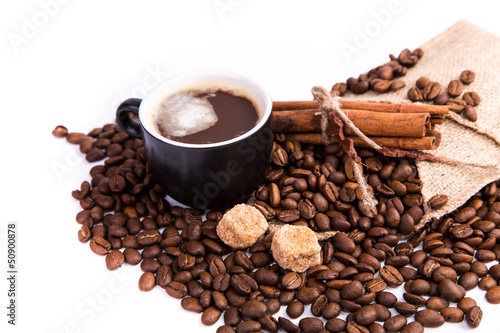 Canvas Prints Coffee beans Cup of coffee. Coffee break concept.