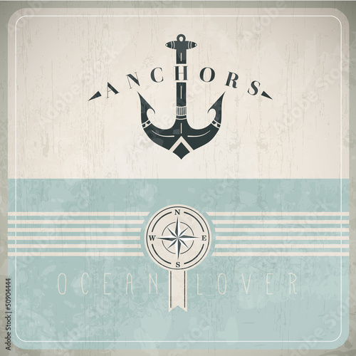 Vintage Design Template With Anchor