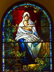 Fototapeta Witraże sakralne Virgin Mary and baby Jesus