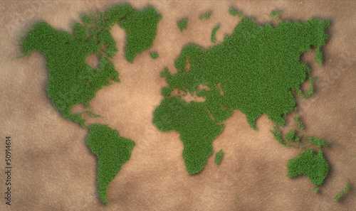 Türaufkleber Weltkarte grüne Weltkarte