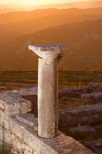 Recess Fitting Ruins Sunset On Column Of Ancient Byllis, Albania