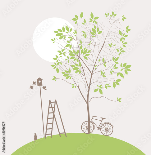Fotobehang Lichtblauw spring landscape with green tree and bike