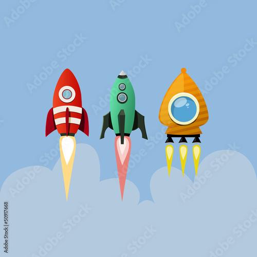 Aufkleber - Set of cartoon rockets