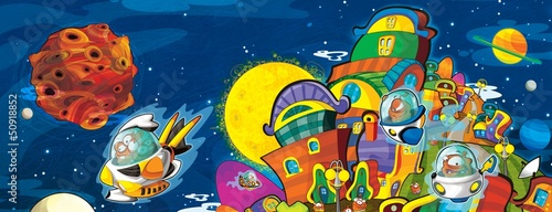 Foto op Canvas Kosmos The aliens - ufo - for kids