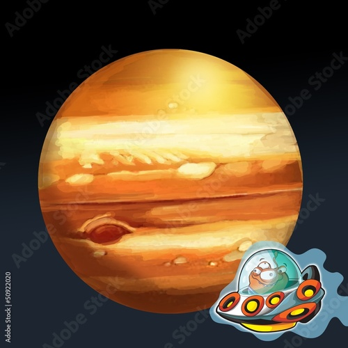 Foto op Canvas Kosmos The aliens theme- ufo - for kids
