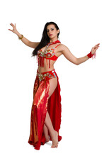 L Young Girl In A Red Suit Oriental Dance