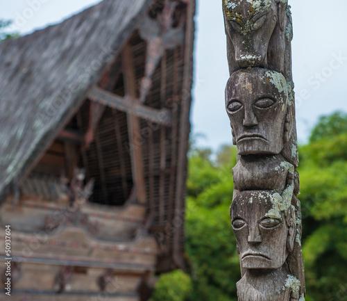 Traditional batak houses, Lake Toba, Sumatra, Indonesia Wallpaper Mural