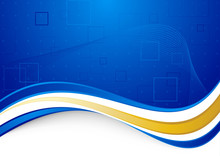 Blue Communicational Background With Golden Border