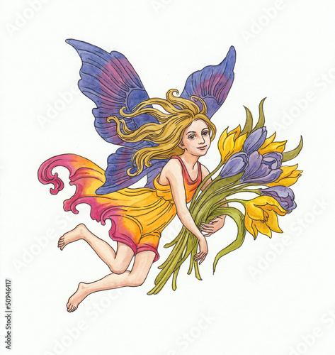 Fotografie, Obraz  Эльф с весенними цветами. Акварель.
