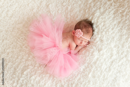 Fotografie, Obraz  Newborn Baby Girl Wearing a Pink Tutu