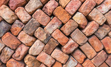 Colorful Wall Of Loosely Piled Bricks