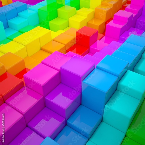 Abstract wall of colored cubes