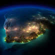 canvas print picture - Night Earth. South Africa