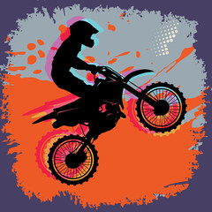 Panel Szklany Podświetlane Do pokoju chłopca Motocross abstract background, vector illustration