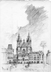 Pencil drawing of Tyn Church in Prague