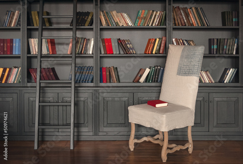 Foto op Canvas Bibliotheek Library room