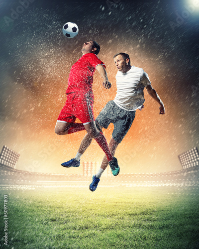 Poster voetbal two football players striking the ball