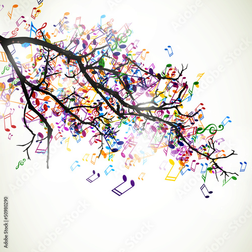 Fototapeta Vector Branch with Colorful Music Notes