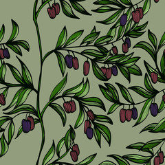 Panel Szklany Podświetlane Do restauracji Seamless hand drawn background with branches and black olives