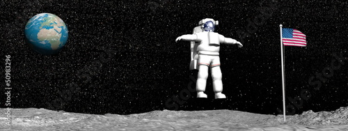 Photo First man on the moon - 3D render