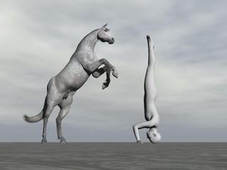 Obraz na płótnie Canvas Horse yoga - 3D render