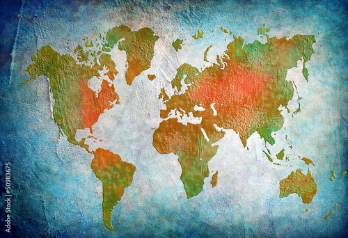 Foto op Canvas Wereldkaart vintage world map with blue background