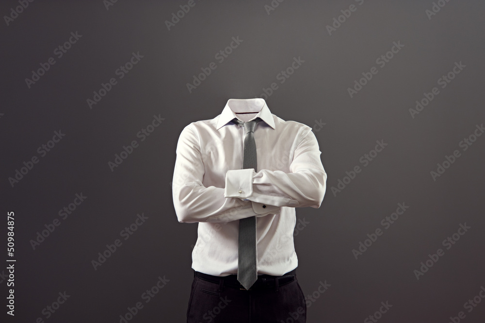 Fototapeta invisible man standing with folded arms