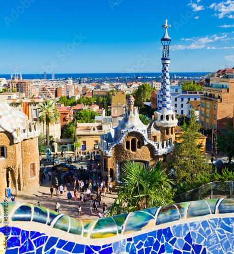 In de dag Barcelona Park Guell in Barcelona, Spain.