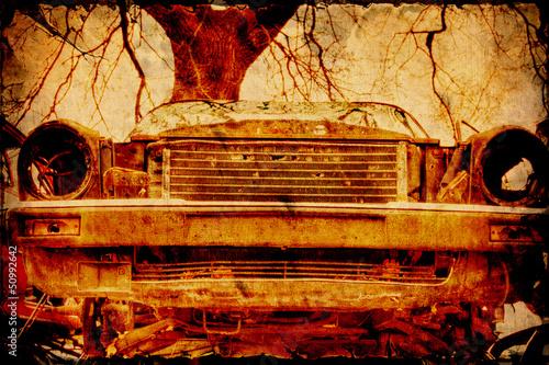 Foto op Plexiglas Vintage Poster Retroplakat - Schrottkarre