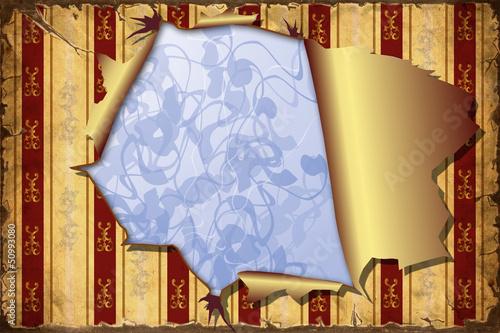 Foto op Plexiglas Vintage Poster 3D Aufgerissene Tapete - Blauer Hintergrund