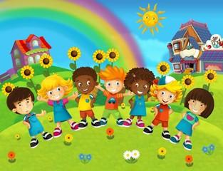 Obraz na płótnie Canvas The group of happy preschool kids