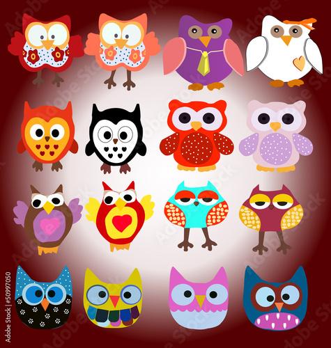 Canvas Prints Owls cartoon owl background