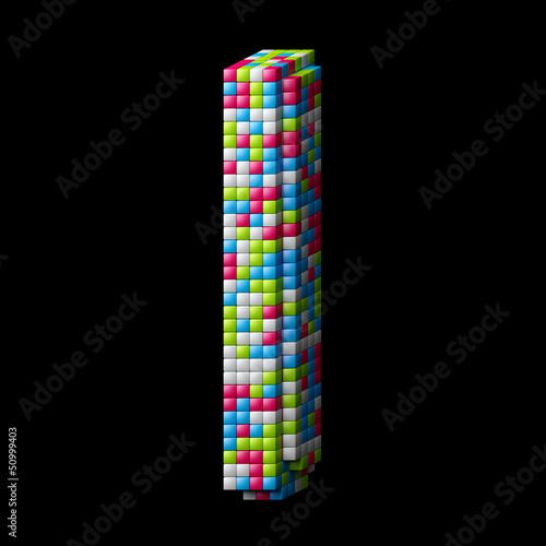 3d pixelated alphabet letter I - Buy this stock illustration