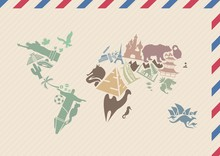 International Airmail Envelope With World Map Picture