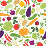 seamless pattern with illustrations of vegetables