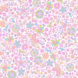 Springtime Flower Princess Seamless Pattern