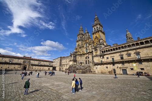 Catedral de Santiago de Compostela en la Plaza del Obradoiro Slika na platnu