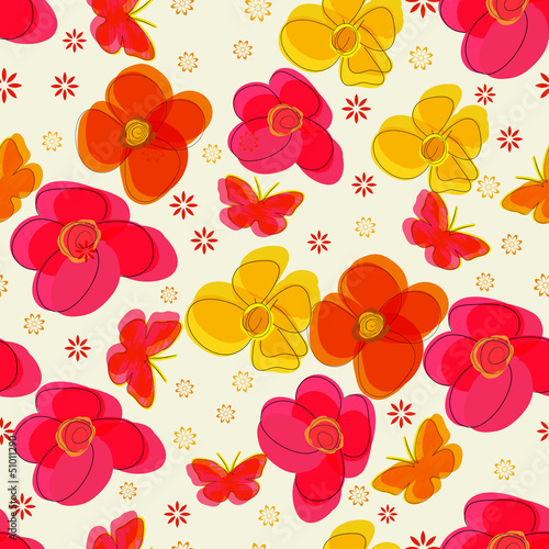 Tuinposter Abstract bloemen Simple seamless pattern with flowers and butterflies.
