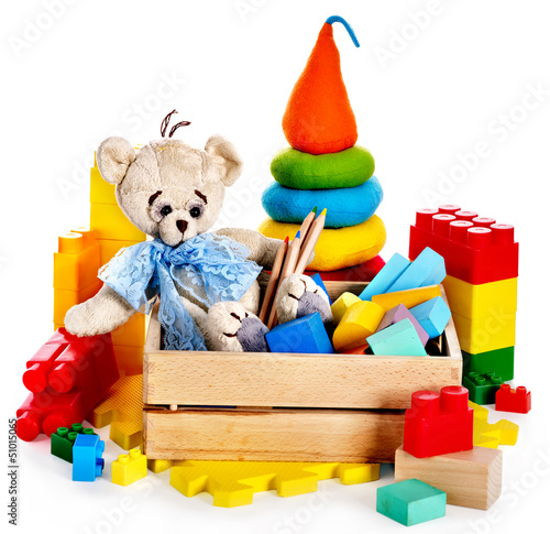 Fotografie, Obraz  Children toys with teddy bear and cubes.