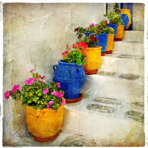 greek streets details. artistic picure