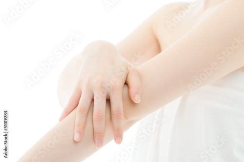 Beautiful young woman hands on white background Obraz na płótnie