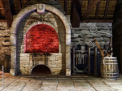 Fényképezés Średniowieczny piec kowala z narzędziami