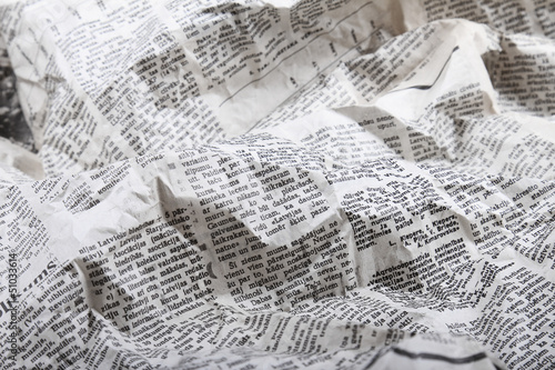 Photo sur Toile Journaux background of old crumpled newspaper