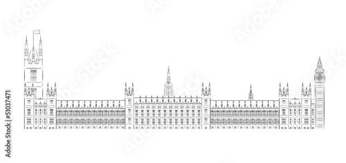 Fotografía  Big Ben and House of Parliament vector illustration