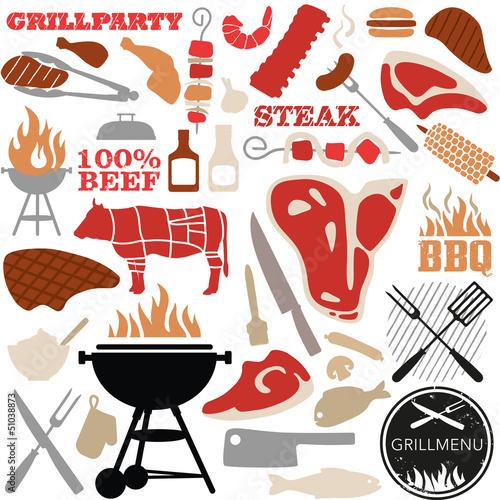 Fotografie, Obraz  grill vector-set color